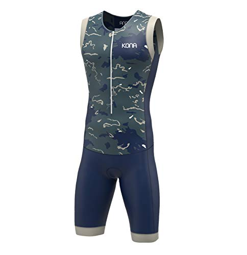 (KONA Assault Triathlon Race Suit - Speedsuit Skinsuit Trisuit Sleeveless - One-Piece Vest and Short Combo That Half zips with a Rear Pockets (Navy Camo, Large))