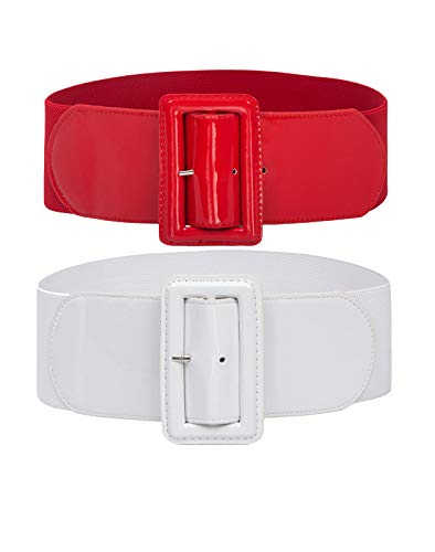 (2 Pack Stretchy Elastic Wide Wasitband Dress Cinch Belt Size XL Red+White)