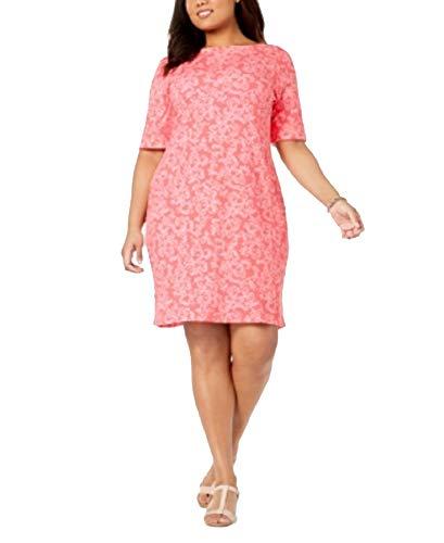 Karen Scott Womens Plus Short Sleeves Knee-Length Casual Dress Pink 2X from Karen Scott