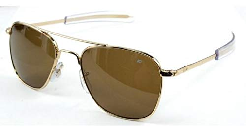 AO Eyewear American Optical - Original Pilot Aviator Sunglasses with Bayonet Temple and Gold Frame, Cosmetan Brown Glass Lens