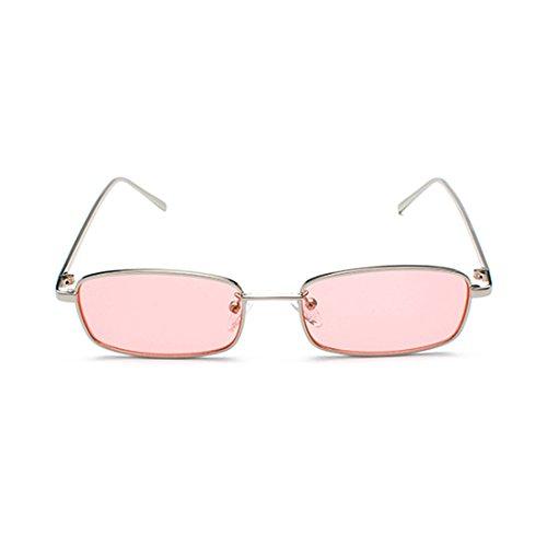 de de para marco Inlefen sol lente Plateado gafas rojo clara hombres mujeres pequeño Rosa de amarillo lente 2018 uv400 metal gafas sol rectángulo unisex 5ww6qC