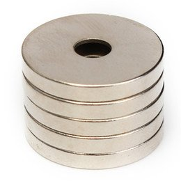 BestPriceEver 4 Pieces of 25mm x 6mm(HOLE) x 5mm Magnets Nickel Coated Round Ring Premium Brushed Refrigerator Magnet For Science And School Projects