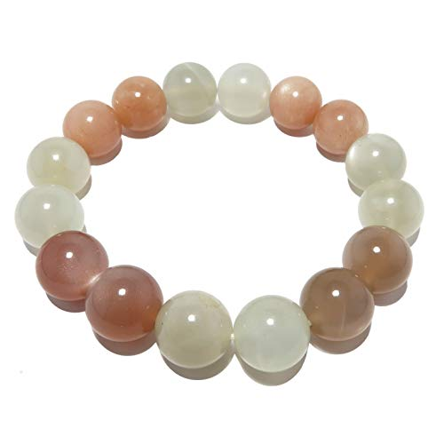 SatinCrystals Moonstone Medley Bracelet 11mm Boutique Pearly Peach Brown Pink Genuine Round Gemstone Handmade Stretch B04 (6.25