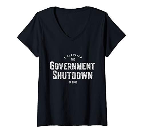 Pc Shutdown - Womens I Survived the Government Shutdown of 2019 V-Neck T-Shirt