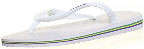 Authentic-Brasil Logo Original Havaianas Tongs Sandales de plage - Blanc - blanc, 42 EU
