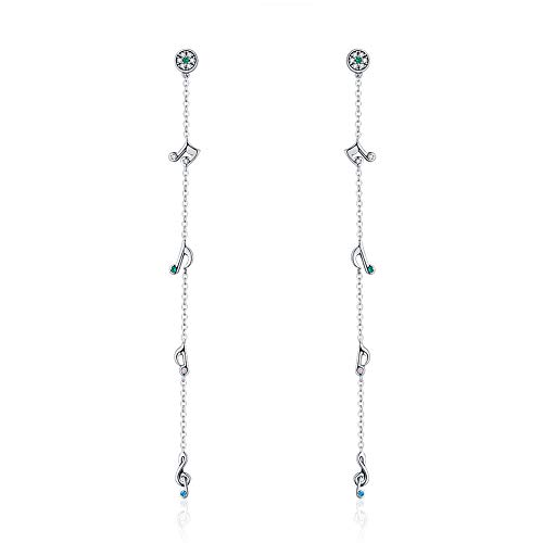 Dxlts Woman 925 Sterling Silver Thread Drop Earrings Inlay Zircon Long Section Musical Note Earring Fashion Jewelry (Musical Inlay Jewelry)
