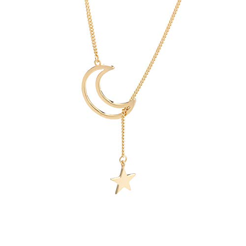 TATA Sterling Silver Moon Star Necklace S925 Gold Plated Crescent Y - Necklace Lariat Star