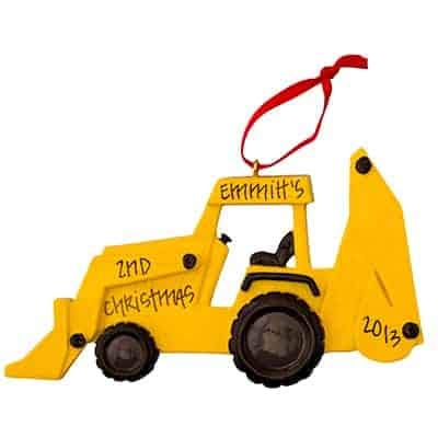 Back Hoe Personalized Ornament - (Unique Christmas Tree Ornament - Classic Decor for A Holiday Party - Custom Decorations for Family Kids Baby Military Sports Or Pets)