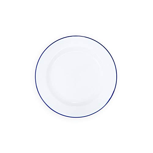 Enamelware Dinner Plate -Solid White with Blue Rim (4 Solid Rim Dinner Plates)