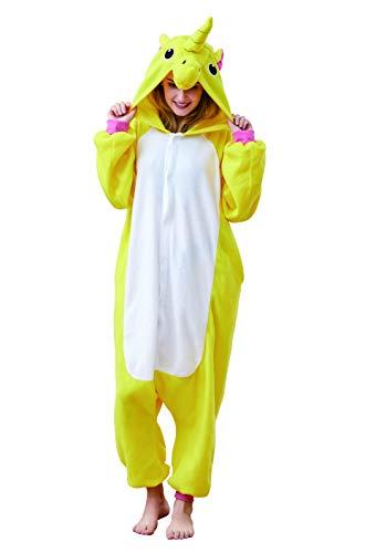 EcoOnesie Womens Pajama Costumes Yellow Unicorn Sleepwear Cosplay