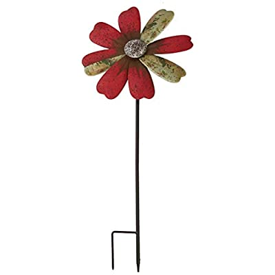 Regal Art & Gift 12297 Rustic Flower Red Wind Spinner: Garden & Outdoor