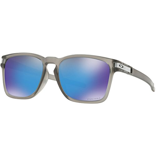Oakley Men's OO9358 Latch Square Asian Fit Rectangular Sunglasses, Matte Grey Ink/Prizm Sapphire, 55 mm (Oakley Asian Fit Damen)