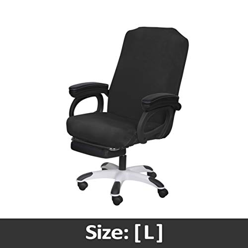 SARAFLORA Office Chair Covers Stretch Washable Computer Chair Slipcovers for Universal Rotating Boss Chair Large Size, Black