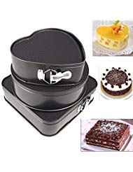 3 pcs/set Non-stick Springform Cake Pan Metal Baking Cake Mold with Removable Bottom Round Heart Square Shapes Bakeware Pan Baking Tray Dessert Chocolate Making Baking Tool by VAlink