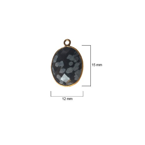 Snowflake Obsidian Oval 12X15mm by BESTINBEADS I Snowflake Obsidian Oval Bezel I Snowflake Obsidian Oval Pendant Pendant Gold I Bezels Connectors I Snowflake Obsidian Oval Cabochon