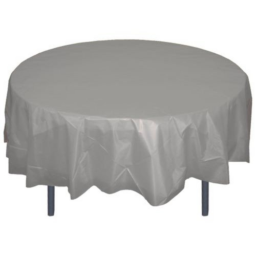 6-Pack Premium Plastic Tablecloth 84in. Round Plastic Table cover - Silver
