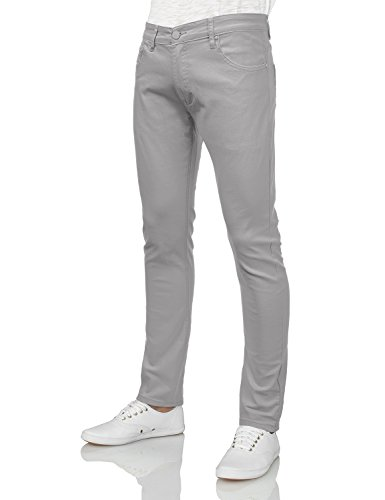 Mens Basic Jean (IDARBI Mens Basic Casual Color Skinny Cotton Twill Pants LIGHTGRAY 38/32)