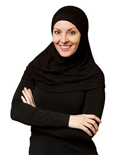 TheHijabStore.com Women's 2 Piece Amira Jersey Hijab - Soft Modal Stretch Head Scarf with Tube Under Scarf Cap Black ()