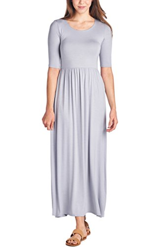 In Dress USA Long Maxi Days Silver 4 Casual 82 Waist with Elastic 3 Sleeve Women's Made xnOfq48wC