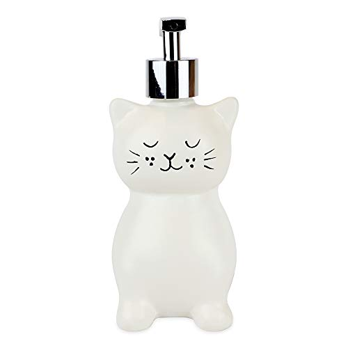 Isaac Jacobs White Ceramic Cat, Liquid Soap Pump/Lotion Dispenser with Chrome Metal Pump (Holds Up to 12 Oz) - Great for Bathroom, Kitchen Countertop, Bath Accessory (Cat)
