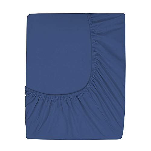 Prime Deep Pocket Fitted Sheet - Brushed Velvety Microfiber - Breathable, Extra Soft and Comfortable - Winkle, Fade, Stain Resistant (Navy, King)