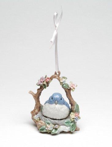 Cosmos SB49057 Fine Porcelain Blue Bird Ornament Musical Figurine, 4-Inch
