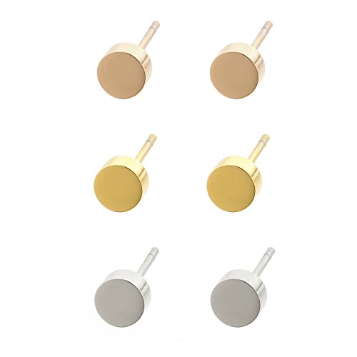 Lureme Stainless Steel Tri-Colors 5mm Tiny Circle Stud Earrings Set 3 Pairs (Circle Silver Stud)