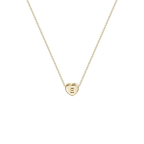 Tiny Gold Initial Heart Necklace-14K Gold Filled Handmade Dainty Personalized Heart Choker Necklace for Women Letter E