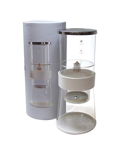 ColdBeans 0001 Portable Brew Maker – Adjustable Cold/Ice Coffee Dripper System with Stainless Steel Filter-Dishwasher Safe Borosilicate Glass-for Home, Camping or Travel, 23 Tall, White