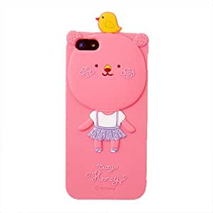 ZXSPACE Silica Gel Cartoon Bear Bird Pattern Protective Case for iPhone 5/5S