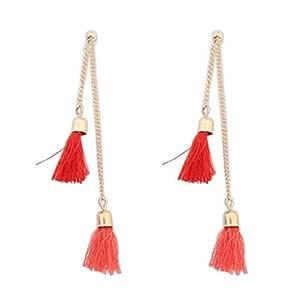 Simple personality tassel long earrings female