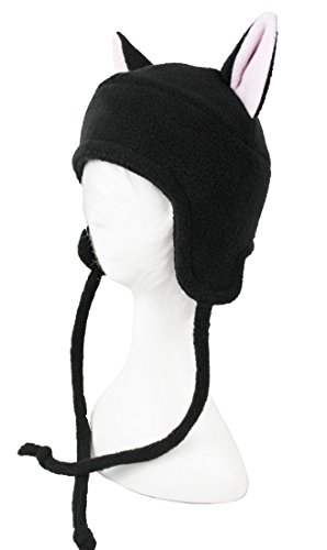 Black Cat Hat with Light Pink Inner Ears Super Cute Anime Aviator Style Adult Sized