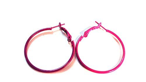 Color Hoop Earrings Simple Thin Hoop Earrings 1 Inch Hoop Earrings (violet)