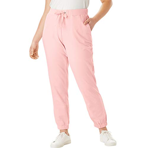 (Roamans Women's Plus Size French Terry Jogger with Ribbon Drawstring - Soft Blush, 34/36)