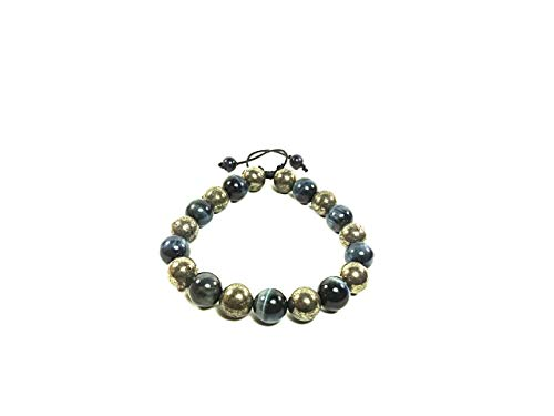 AURAS BY OSIRIS - Handmade Pyrite And Blue Tiger Eye Bracelet - Adjustable - Fits Any Size Wrist - Men And Women