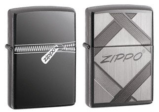 Zipper Zippo (Zippo Lighter Set - Unparallelled Tradition Black Ice and Zipper Pack of 2)