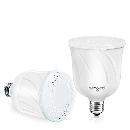 Sengled Pulse LED Smart Bulb with JBL Bluetooth Speaker, App Controlled Up to 8 BR30 LED Light Bulbs with Starter Kit, E26 Base, Compatible with Amazon Alexa, White, 2 Pack