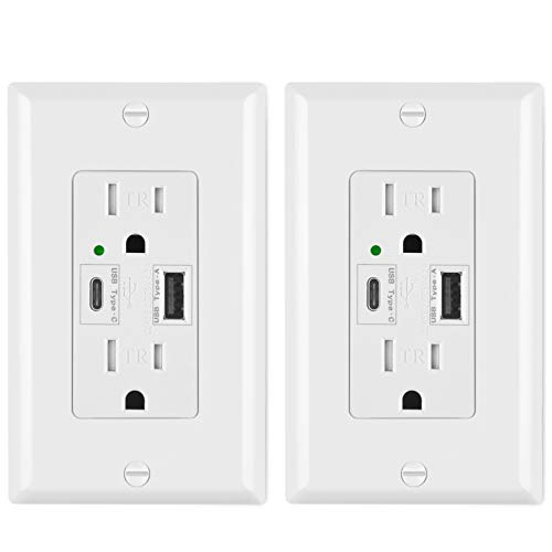 ([2 Pack] BESTTEN USB Wall Outlet Receptacle, Dual USB (Type-C & Type-A) Charging Ports (Total 4.2A/5V), 15A Tamper Resistant Duplex Outlet with Wall Plate, UL Listed, White)