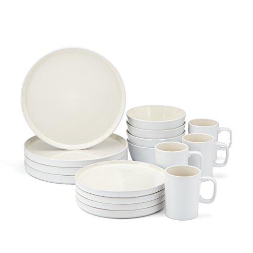 Food & Wine For Gorham Modern Farmhouse 16-Piece Dinnerware Set, White Linen (White Stoneware Dishes)