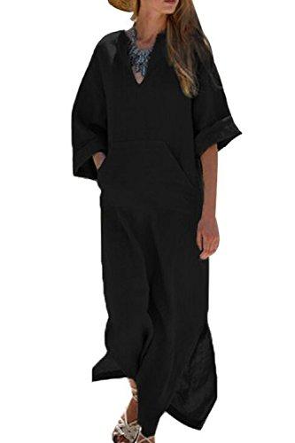 yulinge Robe De Coton Et De Changement des Maxi - Robes XXL Black