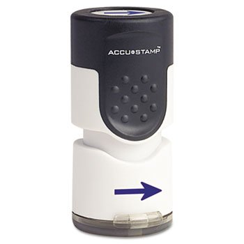 Accustamp Pre-Inked Round Stamp with Microban, Arrow, 5/quot; Dia, - Inked Accustamp Pre