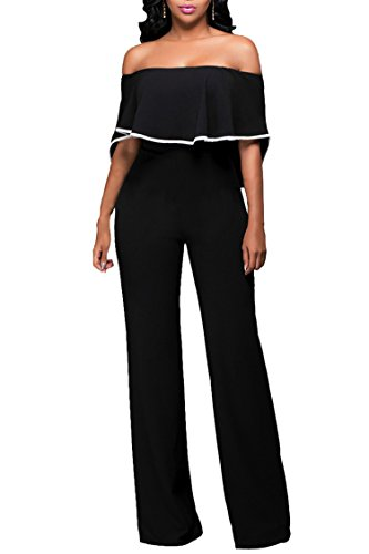 Pink Queen Women's Sexy Elegant Off Shoulder Long Wide Leg Pants Club Jumpsuit (XL, Black-1585) (Sexy Pants Suits)
