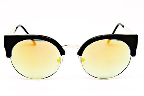 Wm536-vp Round Style Cateye Sunglasses (MIRV Black/Gold-Sunset Mirror, uv400)