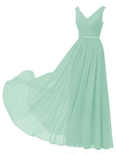 Alicepub V-Neck Chiffon Bridesmaid Dress Long Party Prom Evening Dress Sleeveless, Mint Green, US8