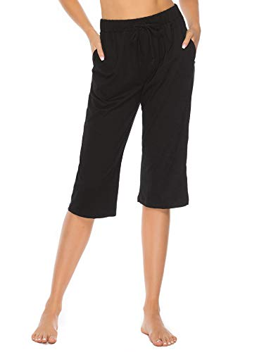 (Vlazom 100% Cotton Women's Pajama Bottoms Capri Pants Short Ladies Lounge Pants with Pockets Drawstring Sleepwear Black)