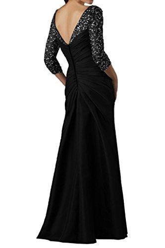 Ivydressing da da abito con sera elegante 4 a donna tulle 3 Nero pailettes da Vestito e in maniche taffeta lungo ballo rr6nqUaw