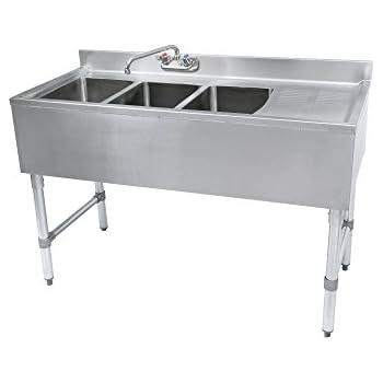 John Boos EUB3S48SL 1RD Slim Line 18 Gauge 300 Series 3 Compartment  Underbar Sink