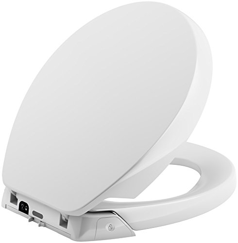 KOHLER K-5589-0 Purefresh Quiet-Close with Grip-Tight Bumpers Round-front Toilet Seat, White - Deodorizing Toilet Seat