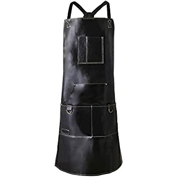 QeeLink Chef Apron for Men & Women Waterproof Leather Apron with 6 Pockets & Cross-Back Straps | Kitchen Apron | BBQ Apron | Cooking Apron | Barber Apron | Barista Apron | Work Shop Apron | (Black)