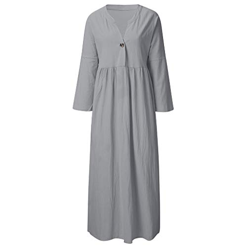 (TANGSen Womens Long Sleeve Dress Summer Solid Color Loose Sundress Fashion Button V-Neck Button Beach Dress Gray)